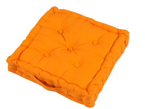 Homescapes Coussin de Chaise de couleur Orange fait en 100 % Coton de 50x50 cm pour Chaise de Salon et Chaise de Jardin