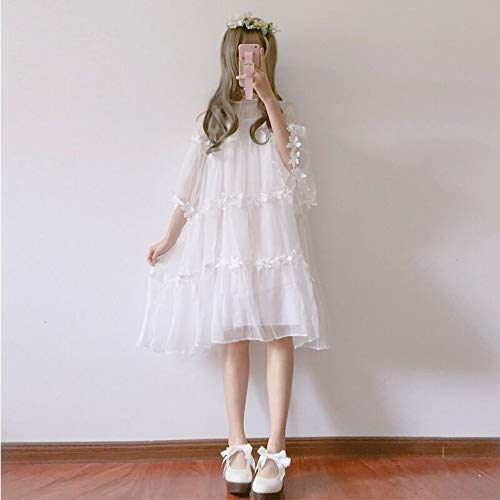 QAQBDBCKL Sommermode Lolita Süße Prinzessin Weiß A-Line Mädchen Kleid Japanische Weiche Schwester Mori Mädchen Fee Lose Süß Mesh-Kleid