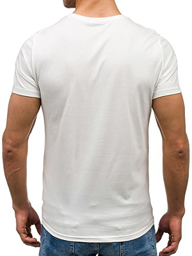 BOLF Herren T-shirt Figurbetont Kurzarm Print Shirt Classic Slim Basic Fit Party Print Motiv Sommer Aufdruck Weiß Schwarz Grau Modisch New Top Fashion 7428 Weiß