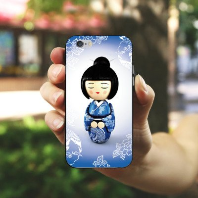 Apple iPhone 5 Housse étui coque protection Koi Kokeshi Poupée Asie Housse en silicone noir / blanc