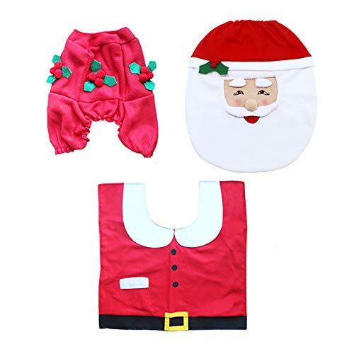 Ouken Weihnachts-Toiletten Deckel Anzug-Happy Santa Claus Sitzabdeckung-Boden Teppich und Tank Deckel für Badezimmer Weihnachtsdekoration ()