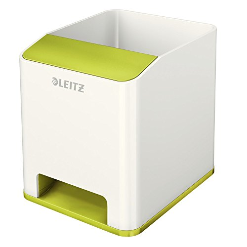 Leitz 53631064 Sound Stifteköcher (Soundverstärkungsfunktion, WOW) weiß/metallic grün - Grün Sound