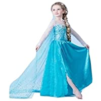 Girls Cosplay Dresses Elsa Anna Frozen with Long Extension