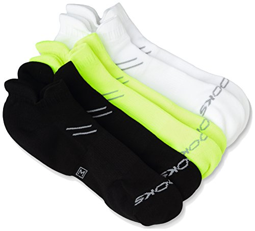 Brooks Laufsocke Sportsocke Outdoor-Socke 3er-Pack Weiß-Schwarz-Gelb Run-In Three Pack - 741544-316 (S) (Socken Brooks Running)