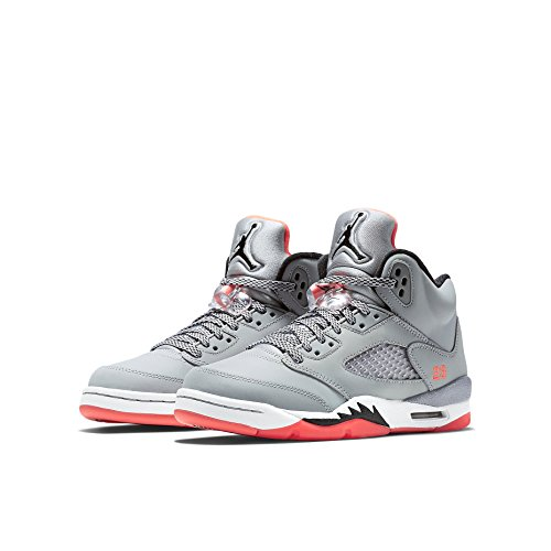 Nike Air Jordan 5 Retro Gg, Chaussures de Running Entrainement Femme Multicolore - Gris / Negro / Rojo / Blanco (Wolf Grey / Black-Hot Lava-White)