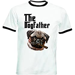 Teesquare1st PUG DOGFATHER 1 Tshirt de hombre con bordes negros Size XLarge