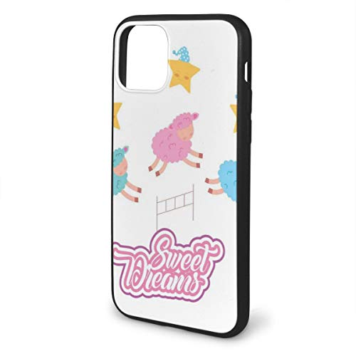 """Shockproof Phone Case Compatible with iPhone 11 Pro max 6.5"""" Series 2019, Cartoon Sheep Jumping Over Fences Colorful Farm Animal Design with Sleep Theme"""