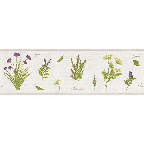 Rand für Wände mit Position von Gelbe Blumen, Distel und Violett mit Schriftzug und Kanten taupe auf Boden Weiß. Bon Appetit BAP 68435004