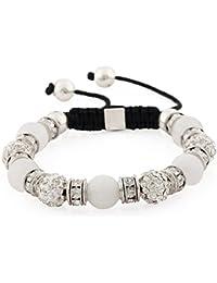Morella Bracelet femme avec perles et strass, regolable, argenté et disponible dans differentes couleurs
