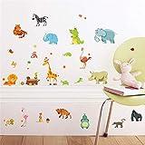 RUQIANGTIE Dschungel Tiere Wandaufkleber Für Zimmer Zimmer Wohnkultur Poster Affe Elefant Pferd...