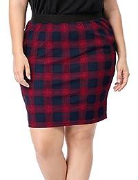 Sourcingmap Agnes Orinda Women's Plus Size Elastic Waistband Plaids Pencil Skirt
