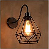 GreyWings Metal Diamond Cadge Wall Light Sconce Lamp, with Filament Bulb (Small)