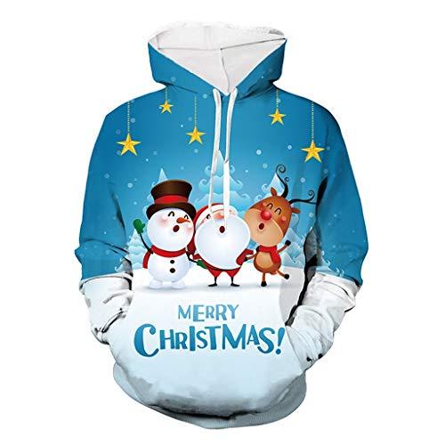 Aoogo Herren Damen Paare Kapuzenpullover Weihnachten Weihnachtsmann mit Hirsch 3D Drucken Hoodie Sweatshirt Kapuzen Sweatjacke Streetwear Outwear Blau -