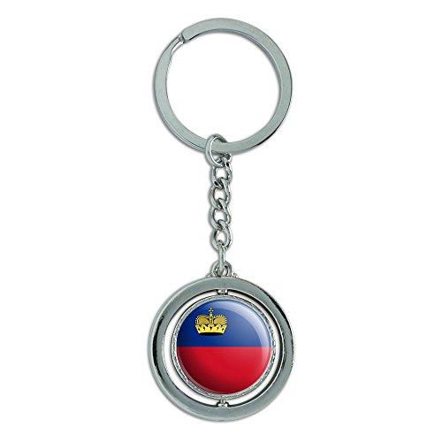 Preisvergleich Produktbild Liechtenstein National Land Flagge Spinning rund Metall Schlüsselanhänger Schlüsselanhänger Ring