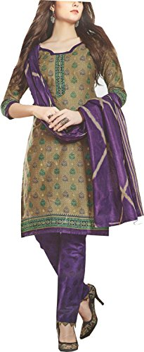 Nashira Women'S Cotton Unstitched Purple, Grey and Green Combination Casual Daily Wear...