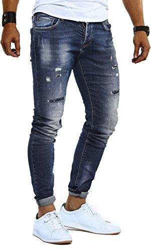 LEIF NELSON Herren Jeans Hose Slim Fit | Denim Blaue graue Lange Jeanshose für Männer | Coole Jungen weiße Stretch Freizeithose Schwarze Cargo Chino Sommer Winter Basic | LN9910 Blau W34/L32 -