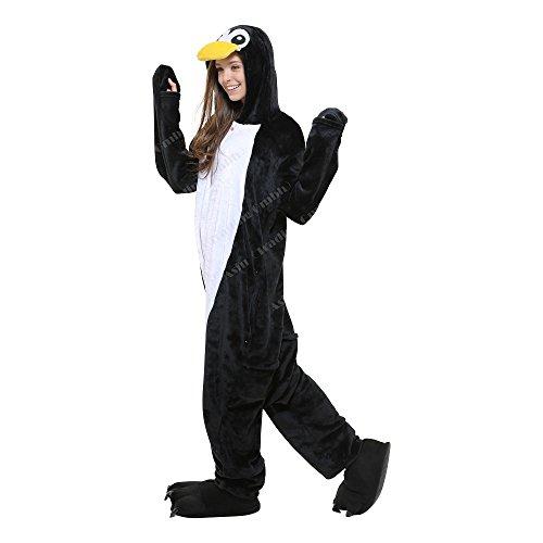 Pinguin Plüschkostüm Einteiler Jumpsuit für Kinder - Schwarz/Weiß - Große 134-140 (Hersteller Gr. 125) (Teufel Mädchen Kostüme)