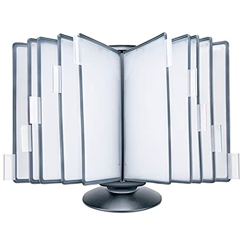 Master of Boards® 10 Panel Free Standing Rotary Document Display Unit, Flip & Find | A4 Desk Stand