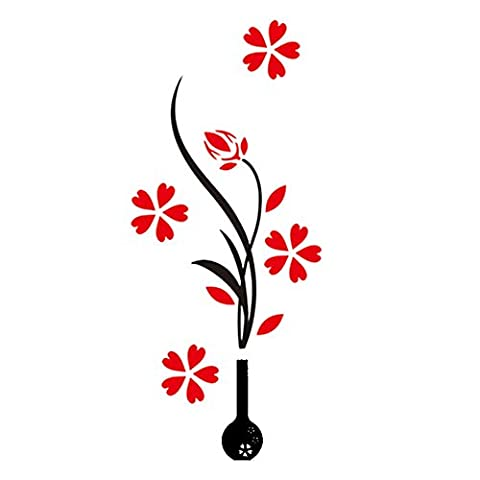 Gosear® 1 Pc Vase Acrylique 3D et Prune Fleur Modèle Sticker Salle TV Décor Entrée Decor Sticker Fond D'Écran Style Aléatoire