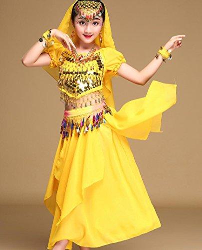 Indischen Mädchen Der Kostüm - Ethnische Tanzkostüme der Mädchen Kinder kleiden Bauchtanzkostüme Mädchen Zeigen Kostüme Kleidung rosafarbenes Rot/Gelb/Rot/Grün/Blau, L, Yellow
