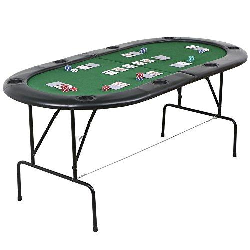 41ZvHhEJ7WL - NO.1 BETTING Popamazing Poker Table 1.82m Folding Top 8 Players Casino Game w/ Chip Trays Drink Holders