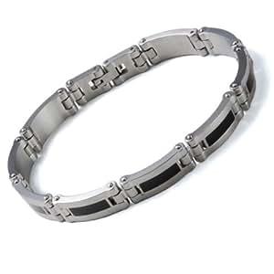 Monomania Herren-Armband Edelstahl Edelharzeinlagen schwarz 18 cm 41511