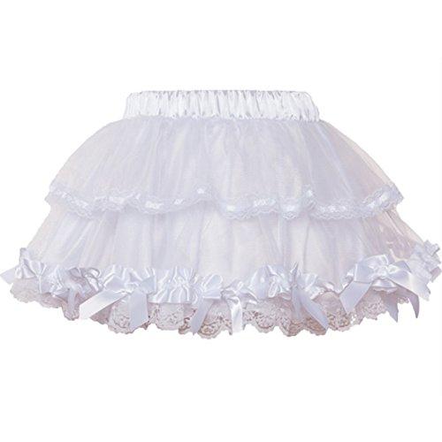 Mini Short Sweet Club Röcke Damen Multilayer Ballkleid Gothic Lolita Rock Tüll Petticoat (weiß)