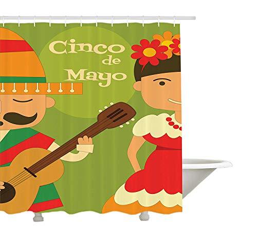 GWFVA Duschvorhang Cinco De Mayo, hispanische Paare, die traditionelle Kostüme für grafisches Bild Cinco De Mayos, Stoff-Gewebe-Badezimmer-Dekor-Satz mit den Haken, Mehrfarbig - Bilder Paare Kostüm