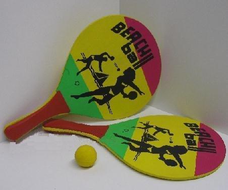 Beachball SET Holz, Strandspiel, 2 Schläger, Ball, Beach Ball Set (LHS)