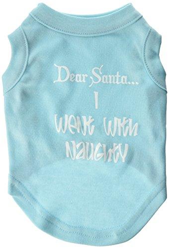 Freche Santa (Mirage Pet Products 25,4cm Dear Santa Ich ging mit Frech Screen Print Shirts für Haustiere, Größe S, Aqua)