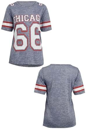Womens New Chicago 66 Print Ladies American Football Jersey Varsity Top T-shirt (M/L UK 12-14, Blue)