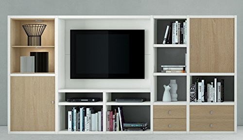Wohnwand TV-Kombination TOLEO238 Lack weiß, Eiche Sonoma