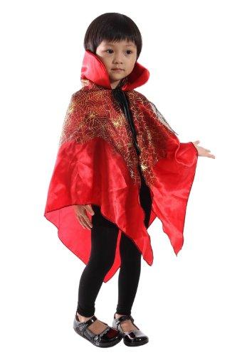 De01 Roter Spinnen Umhang - für Kinder und Erwachsene geeignet. Halloweenkostüm für Halloween Spaß!