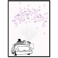 Libro de oro - Árbol de huellas digitales personalizado - 8tipos - Libro de bodas - Con caja de 6colores de tinta