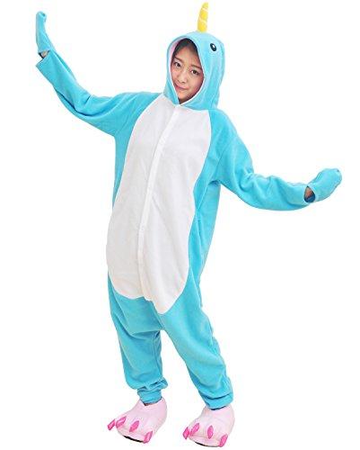 Narwhal Kostüm Onesie Tier Pyjamas Jumpsuit Fasching Damen Herren Karneval Cosplay Nachtwäsche