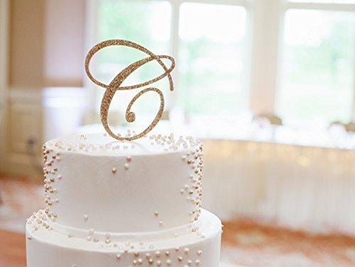 Wedding Cake Topper Letter Monogram in Glitter Gold or Custom, Party Cake Topper Wedding Decor Cake, Engagement (Party Decor Engagement)