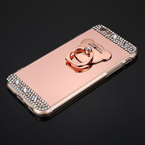 Coque iPhone 5S Miroir, iPhone SE Coque Brillante, SainCat Ultra Slim TPU Silicone Case pour iPhone 5/5S/SE, Bling Bling Glitter Strass Diamant Anti-Scratch Soft Gel Silicone 3D Transparent Silicone C Or Rose