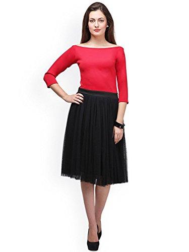 Vaankosh Fashion Women\'s Black and Red Georgette Western Dress