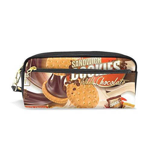 Ahomy Federmäppchen Schokolade Milk Cookies PU Leder Stifttasche Walle Make-up Kosmetik Tasche für Studenten oder Frauen