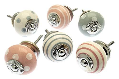 Vintage-Chic Gemischt Set mit Altrosa & Flüstern Grau Keramik Schrankknöpfe x Pack 6 (MG-256) TM Produkt -