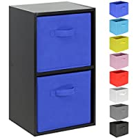 Hartleys 2 Tier Black Cube Unit - Choice of Storage Boxes