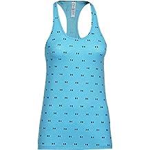 Under Armour Fitness T-Shirt All Over Logo Tank - Camiseta sin mangas de running para mujer, color azul claro, talla L