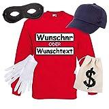 Shirt-Panda Panzerknacker Herren Sweatshirt Set Kostüm mit Wunschnummer Karneval Verkleidung SET16 Sweater/WN/Cap/Maske/Handschuhe/Beutel XL