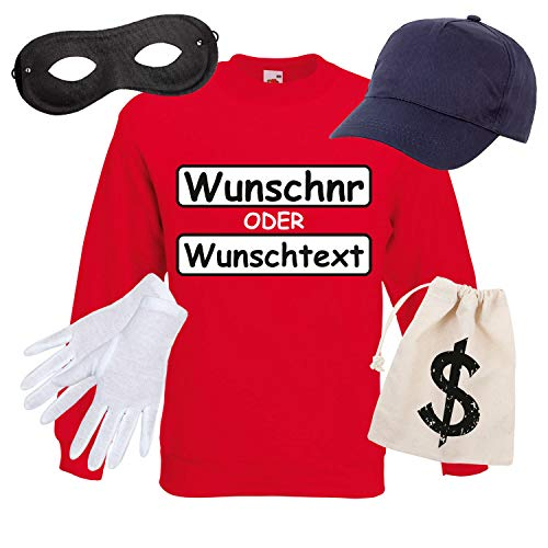 Shirt-Panda Panzerknacker Herren Sweatshirt Set Kostüm mit Wunschnummer Karneval Verkleidung SET16 Sweater/WN/Cap/Maske/Handschuhe/Beutel M