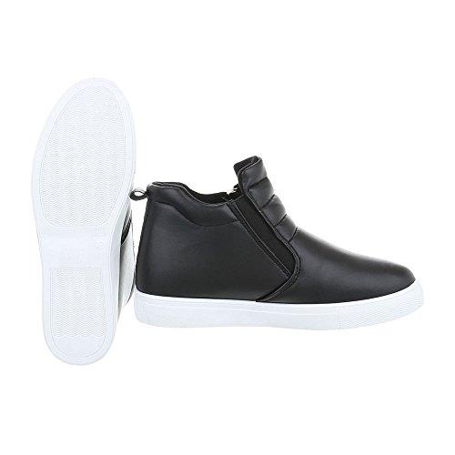 Ital-Design Scarpe da Donna Sneaker Piatto Sneakers High nero bianco D16-1