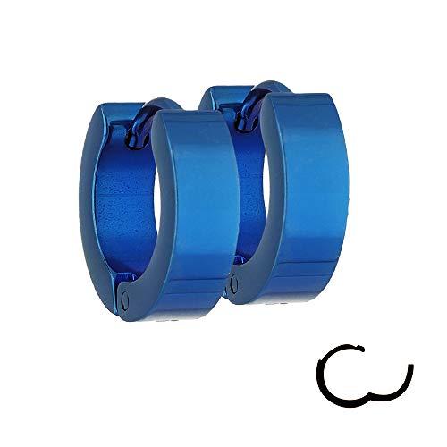 Treuheld® | Klassische CREOLEN in BLAU - Edelstahl - schmale Damen & Herren Ohrringe - Blaue Ohrstecker mit Klappverschluss - 4mm breit - Ohrschmuck Ohrring zum Klappen