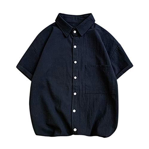 Xinxinyu camicie casual uomo manica corta lino stretch traspirante pulsanti camicie slim fit commercio shirt estiva camicie da spiaggia colore puro classico lavoro shirts con tasca (xxxxl, nero)