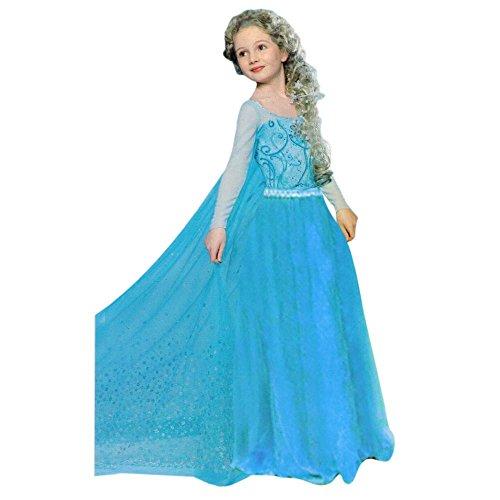 Kinder Eis-Prinzessin Kostüm 4-5 Jahre Gr. 110 Princess Königin Festkleid weiß Blau Mädchen Fasching Karneval Verkleidung (Für Prinzessin Mädchen Eis Kostüm)