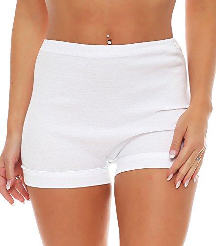 3er Pack Damen Slip mit Bein oder ohne Bein, weiß oder mit Blumen Muster (Schlüpfer, Unterhose) 438-444 439