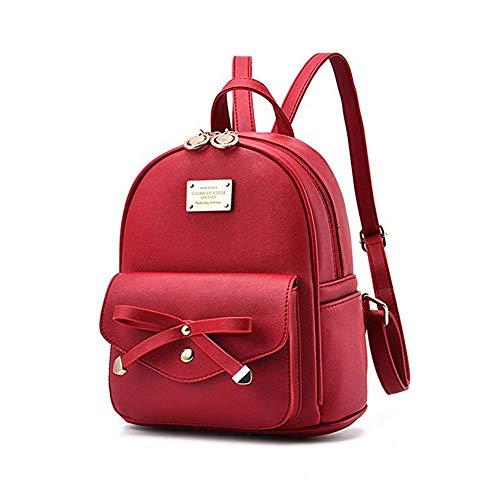Leder Mini Handtasche (Mini Babala Damen Vintage PU Leder Rucksack Schultasche Daypacks Outdoor Umhängetasch Casual Wasserdichte Rucksack für Frauen, Weinrot)